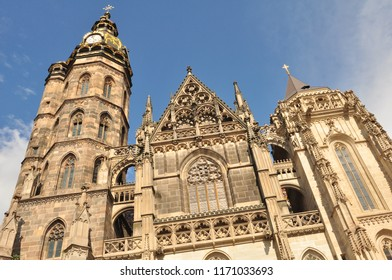 A historic church of Košice (Slovakia) with gothic decoration.