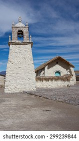 Historic church in the small village of Guallatire on the Altiplano in the Arica y Parinacota Region of Chile. The village sits at the base of the active Guallatire Volcano.