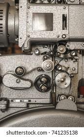 Historic cinema film projector mechanic
