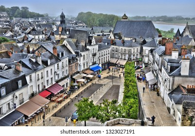 Historic city of Amboise seen from above. France. City is major tourist destination in Loire valley and famous for Chateau d'Amboise the Clos Luce (house where  Leonardo da Vinci lived). 2014-04-30.
