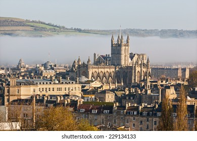 The historic city of Bath shrouded in mist on an autumn morning