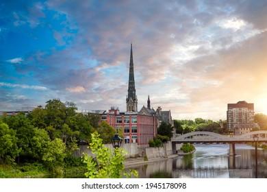 Historic city center of Cambridge, Ontario, Canada