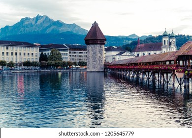 Historic city center of Lucerne (Luzern) with famous Chapel Bridge in Switzerland.
