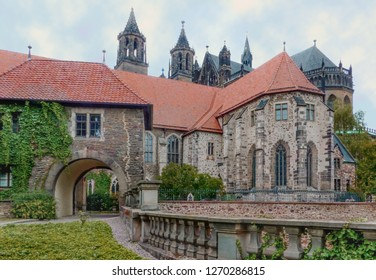 Historic city center of Magdeburg, Germany. The backside of Magdeburg Cathedral or Cathedral of Saints Catherine and Maurice, Protestant cathedral in Germany. City landscape