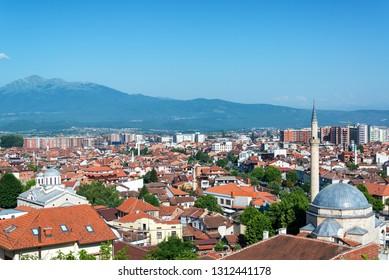 Historic city center of Prizren, Kosovo with a church and a mosque