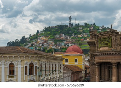 "The historic city center of Quito with the Panecillo hill and the Virgin of Quito on top, Ecuador. Translation: ""Banco Central de Ecuador"" = Central Bank of Ecuador."
