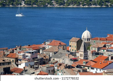 Historic city centre of Sibenik, Croatia with the dome of the Cathedral of St. James, famous UNESCO World Heritage Site. Adriatic Sea in the background. View from the Barone Fortress.