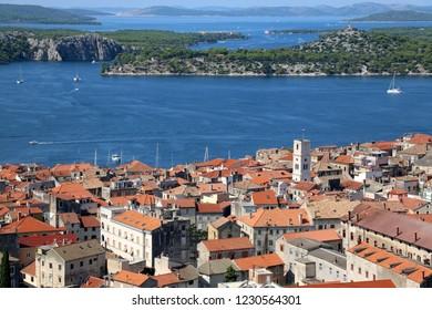 Historic city centre of Sibenik, Croatia . Adriatic Sea in the background. View from the Barone Fortress.