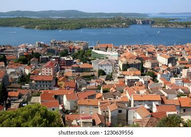 Historic city centre of Sibenik, Croatia. Adriatic Sea in the background. View from the Barone Fortress.