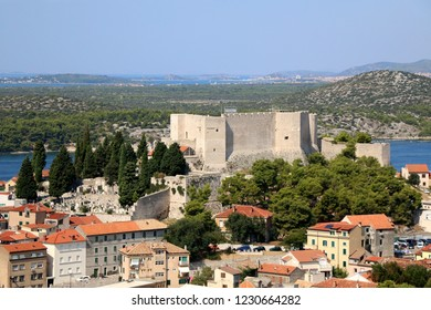 Historic city centre of Sibenik, Croatia with St. Michael's Fortress. Adriatic Sea in the background. View from the Barone Fortress.