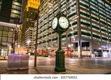 Historic City Clock at the Intersection of Main Street and Texas Street at Night (Downtown Houston) - Houston, Texas, USA