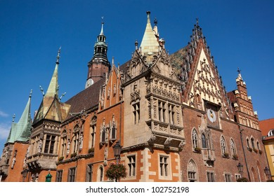 Historic City Hall (Ratusz) built in 14th century, Wroclaw, Poland