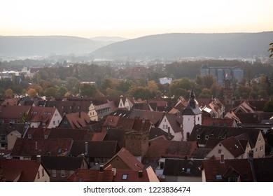 historic city of Obernburg am Main during dusk