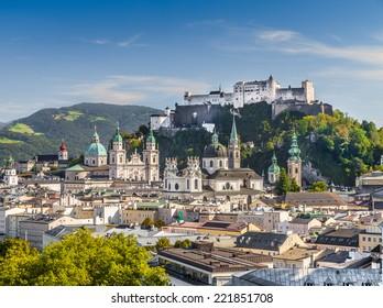 Historic city of Salzburg with Hohensalzburg Fortress, Salzburger Land, Austria