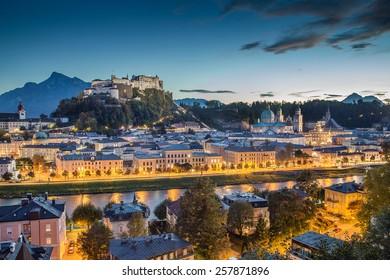 Historic city of Salzburg with Hohensalzburg Fortress at dusk, Salzburger Land, Austria