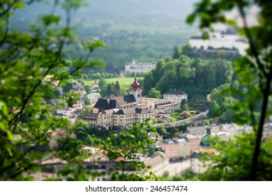 Historic city of Salzburg, miniature (tilt-shift) simulation