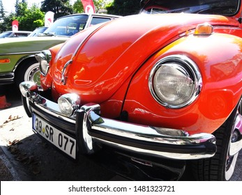 Historic classic New Beetle. Famous German car. Icon car of the Volkswagen brand. Classic cars exhibition. The city of Kirklareli. Turkey. July 20. 2019.