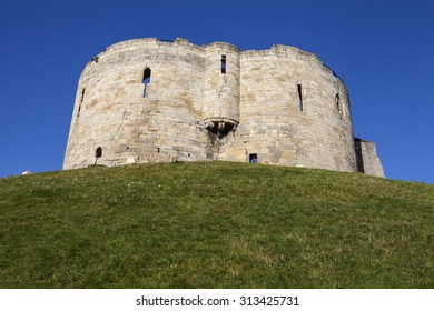 The historic Cliffords Tower in York, England.