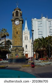 Historic Clock Tower in Armas Square in the port city of Antofagasta, Chile.