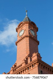 The historic clock tower on the old Middlesbrough docks, England