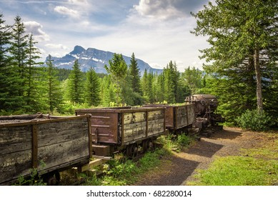Historic coal mine train in the ghost town of Bankhead with Mt. Rundle in the background located in Banff National Park, Alberta, Canada