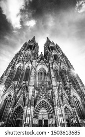 Historic Cologne Germany Cathedral in black and white