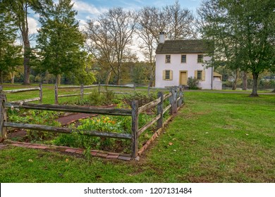 Historic colonial home and garden in Washington Crossing Park in Bucks County Pennsylvania.