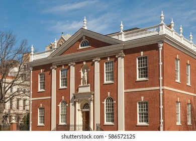 Historic colonial Library Hall on Independence Square in Philadelphia