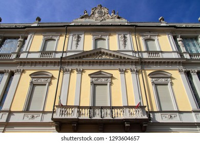 historic colored palace in Asti city in italy