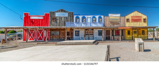 Historic colorful buildings along Route 66, USA.