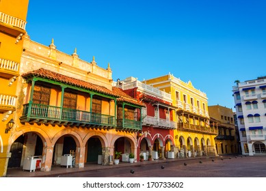 Historic and colorful colonial buildings in the center of Cartagena, Colombia