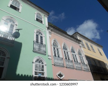 Historic colorful house in the neighborhood of Pelourinho, in Salvador