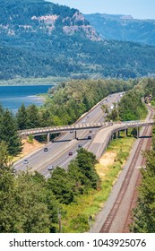 Historic Columbia River Highway aerial view, Oregon - USA.