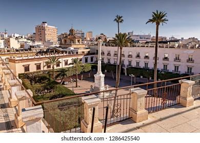 Historic Constitution square, also known as Old square, in Almeria, Spain.