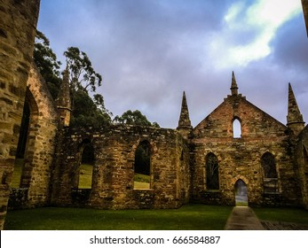 Historic convict site. Ruins of a church at Port Arthur in Tasmania, Australia.