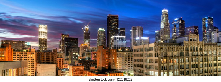 Historic Core and Financial District of Downtown Los Angeles on blue hour.  All building logos has been removed.