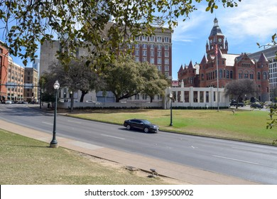 Historic Courthouse, Highway, and Dealey Plaza, as seen from the Grassy Knoll - Dallas, Texas, USA