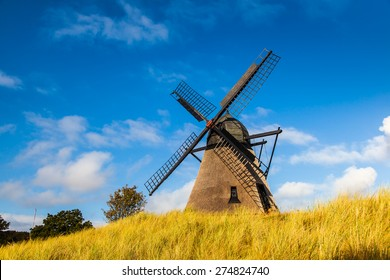 Historic Danish windmill in Skagen, Northern Denmark,