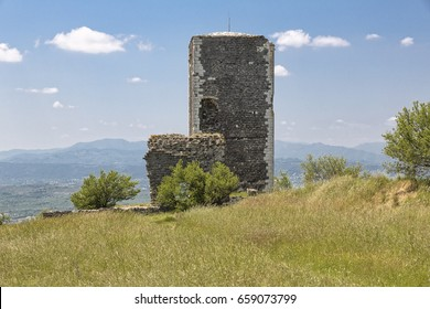 Historic defense tower near the village of Mirabel, Southern France