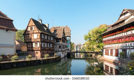 """Historic district """"Petite France"""" and canal in Strasbourg, Alsace province of France. Petite France is a historic quarter of the city in Strasbourg."""