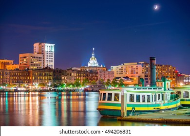Historic District waterfront of Savannah, Georgia USA at twilight