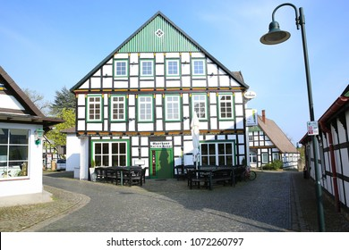 Historic downtown in Bad Essen, Osnabruecker Land, Lower Saxony, Germany, 17-04-2018 at noon