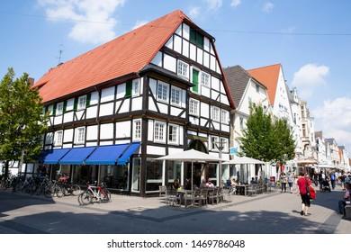 Historic downtown in Lippstadt, Westphalia, Germany, 08-01-2019