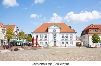 Historic downtown in Quakenbrück, Lower Saxony, Germany, 08-14-2019