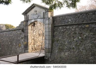 Historic drawbridge and city gate of famed tourist destination of Colonia del Sacramento, Uruguay, South America.