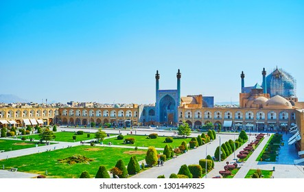 Historic ensemble of Naqsh-e Jahan Square with a view on azure tiling of Royal (Shah) Mosque, surrounded by long arched gallery of Qeysarie (Soltani, Grand) Bazaar, Isfahan, Iran.