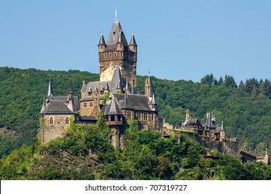 Historic european castle - Reichsburg Cochem.  Cochem, Germany.