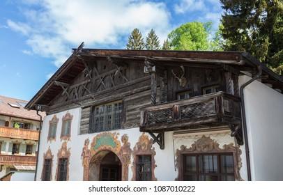 Historic facade in Garmisch-Partenkirchen Bavaria Germany.