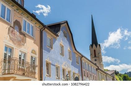 Historic facades in Garmisch-Partenkirchen Bavaria Germany.