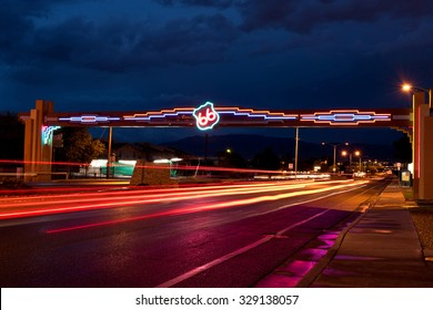 Historic, Famous Highway Route 66 Neon Sign at Night